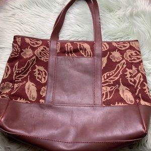 Pendleton Redish Brown/Tan Wool and Leather Tote